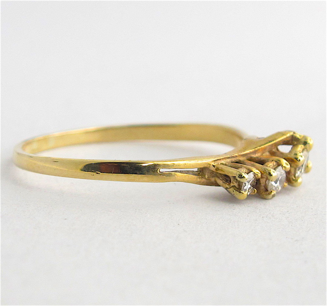 9ct yellow gold 3 stone diamond dress ring image 1