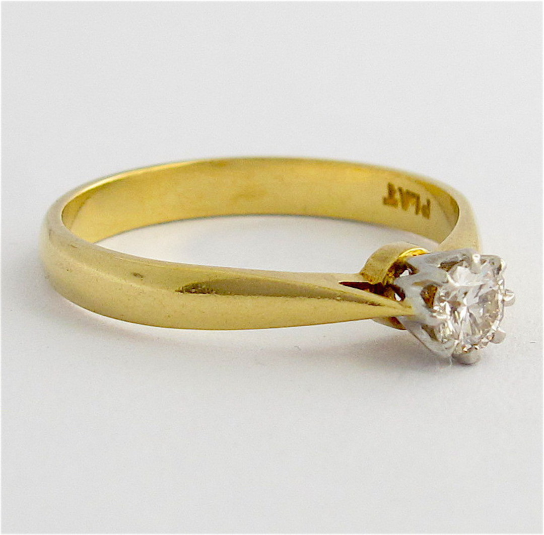 18ct yellow gold and platinum diamond solitaire ring image 1