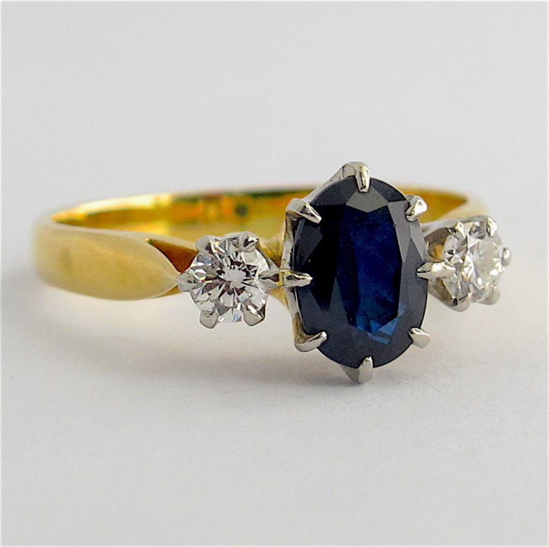 18ct yellow gold and platinum sapphire and diamond ring image 1