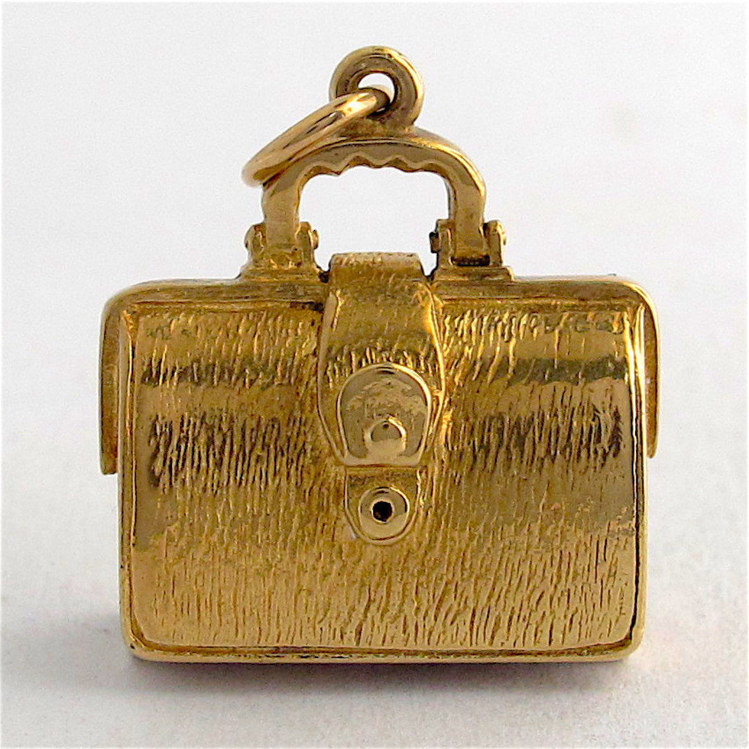 9ct yellow gold suitcase charm image 0