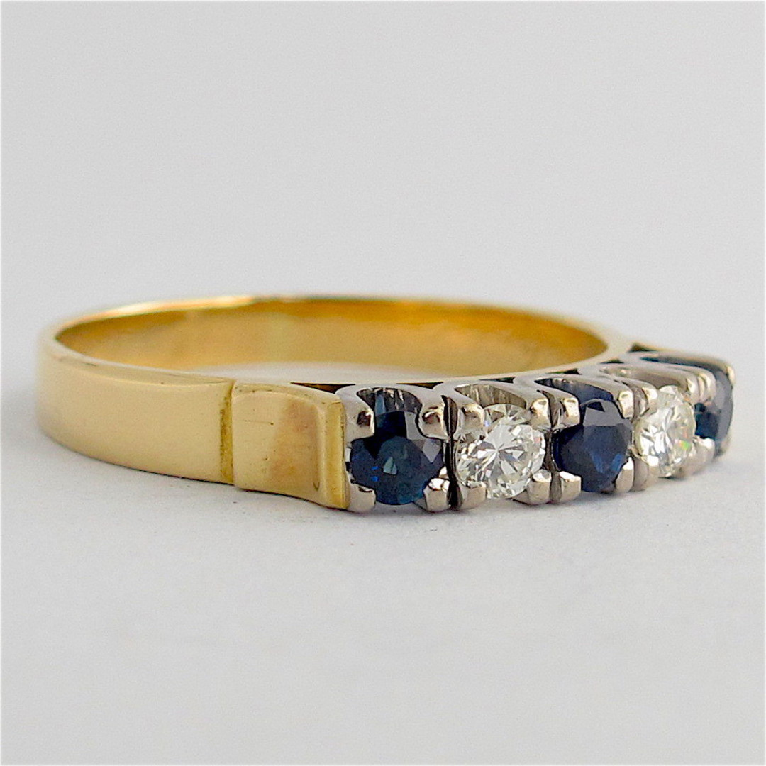 18ct yellow & white gold sapphire and diamond ring image 1