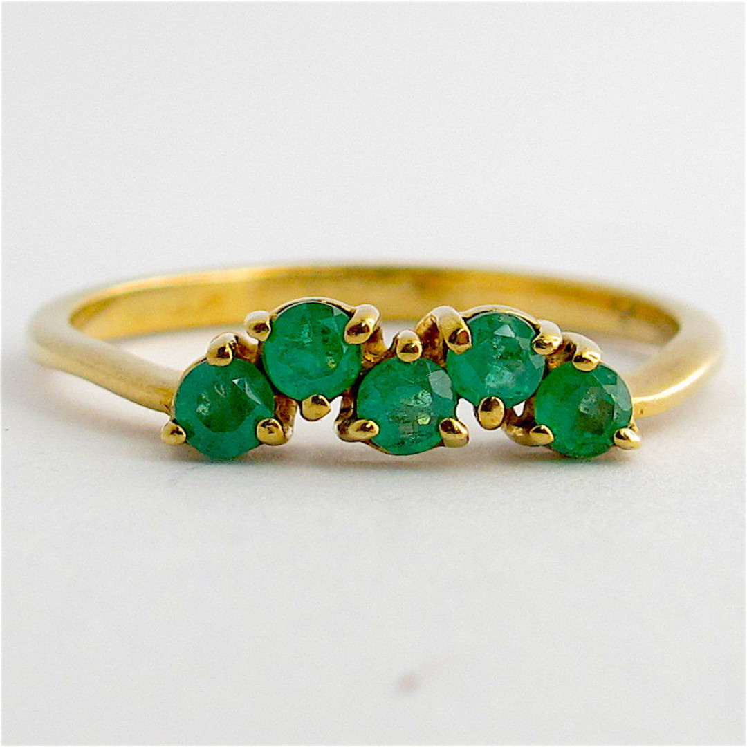 9ct yellow gold and natural emerald dress ring image 0