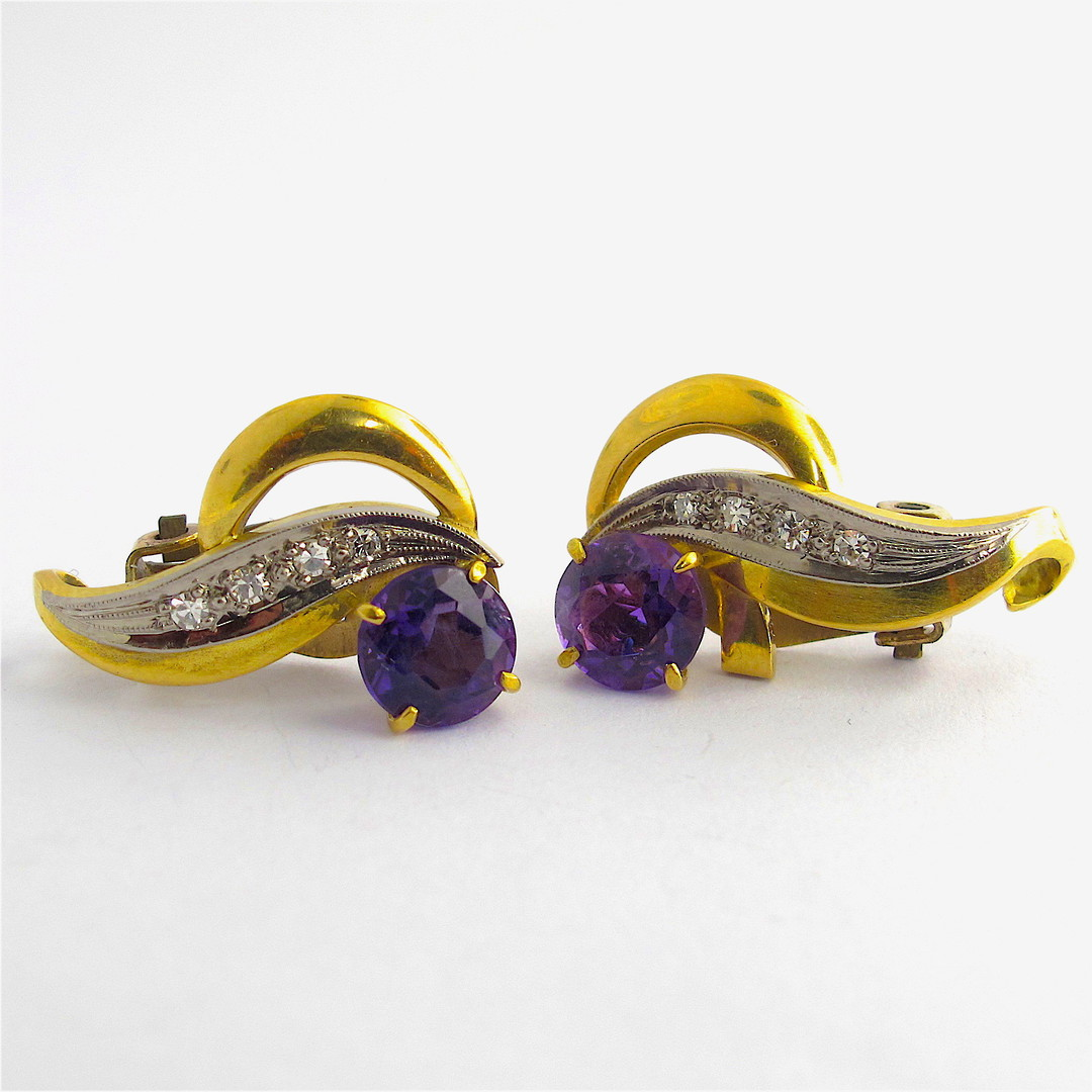 9ct yellow and white gold amethyst and diamond clip on earrings image 0