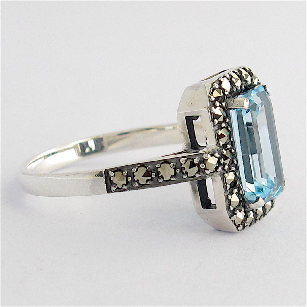 Sterling silver emerald cut blue topaz and marcasite ring image 1