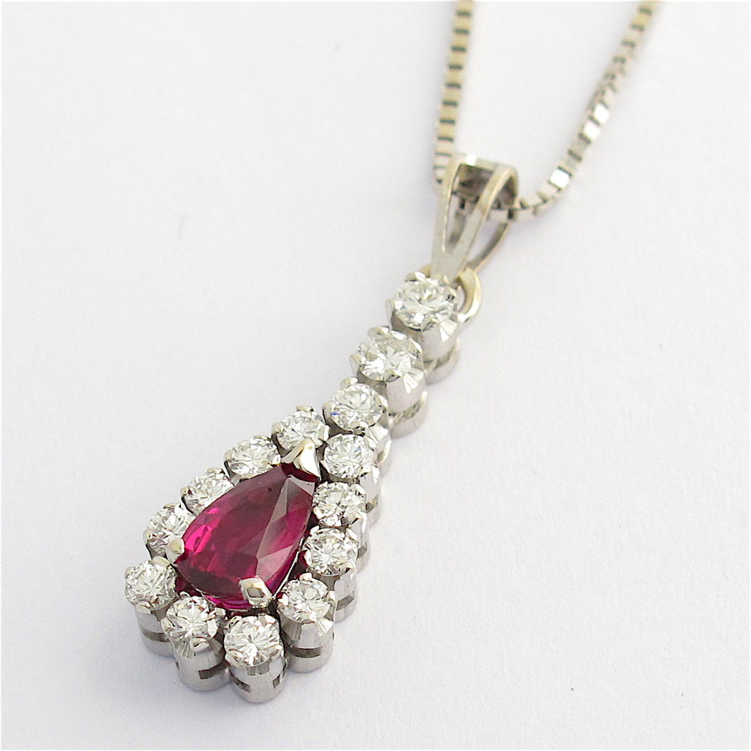 18ct white gold ruby and diamond pendant with chain image 1
