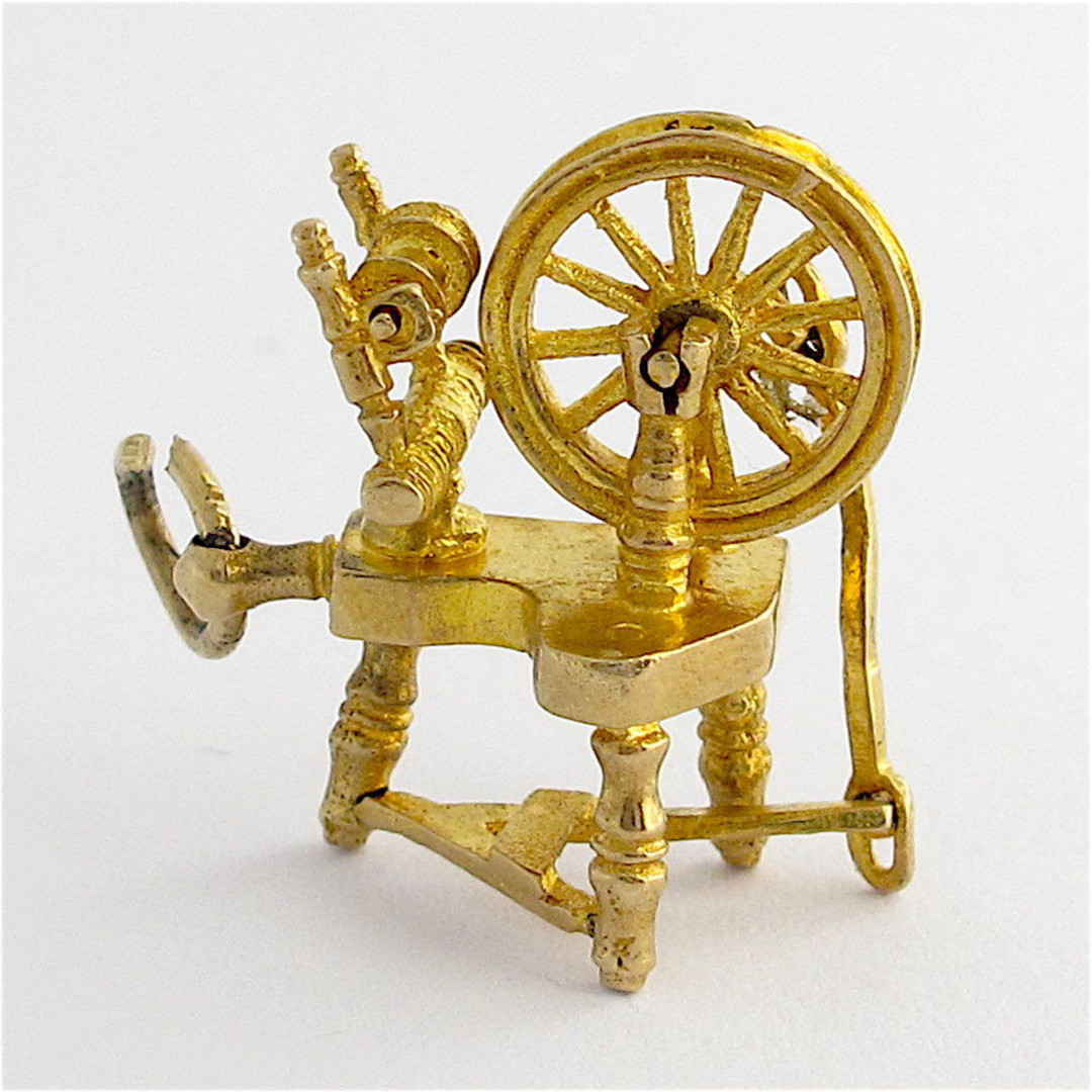 9ct yellow gold spinning wheel charm image 0