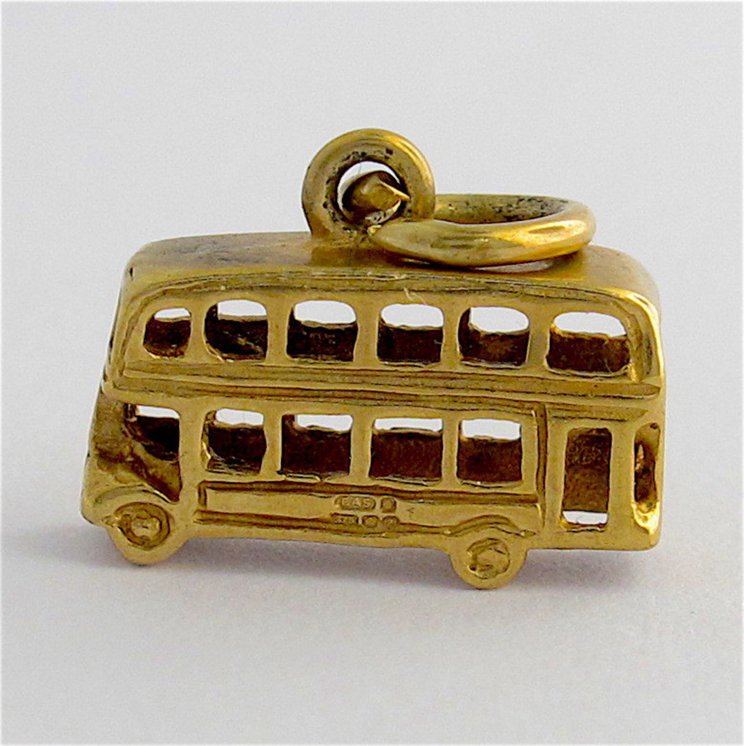 9ct yellow gold double decker bus charm image 0