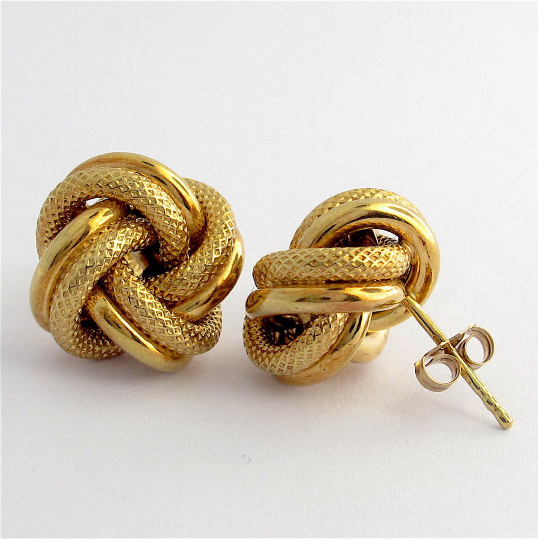 9ct yellow gold textured knot style stud earrings image 1