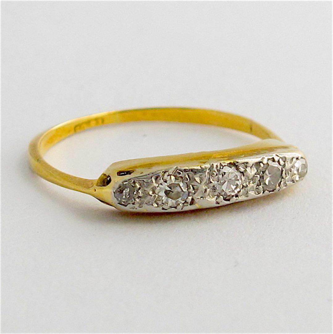 18ct yellow gold and platinum vintage diamond ring image 1