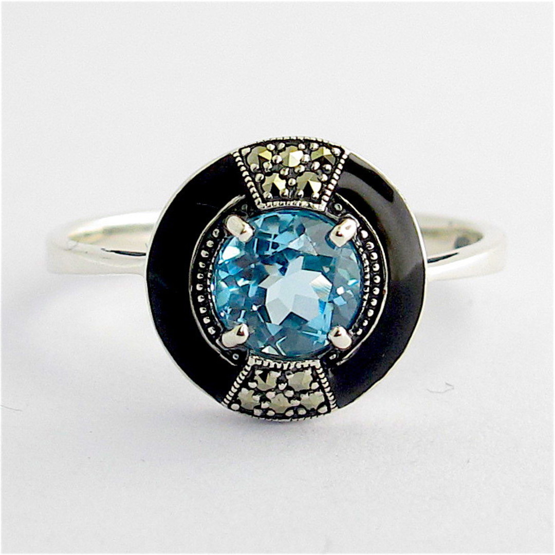 Sterling silver blue topaz, marcasite and enamel dress ring image 0