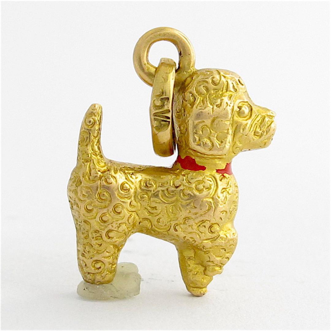 18ct yellow gold Poodle dog charm image 0