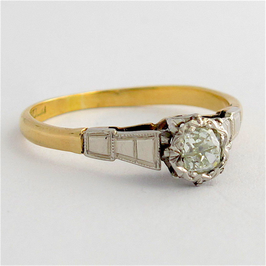 18ct yellow gold and platinum vintage diamond solitaire ring image 1