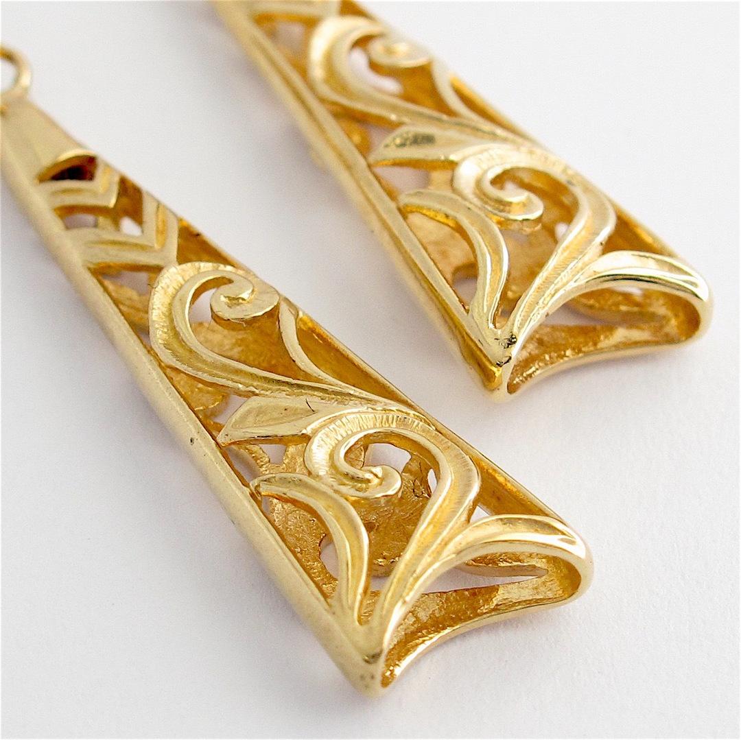 9ct yellow gold stud dangle earrings image 1