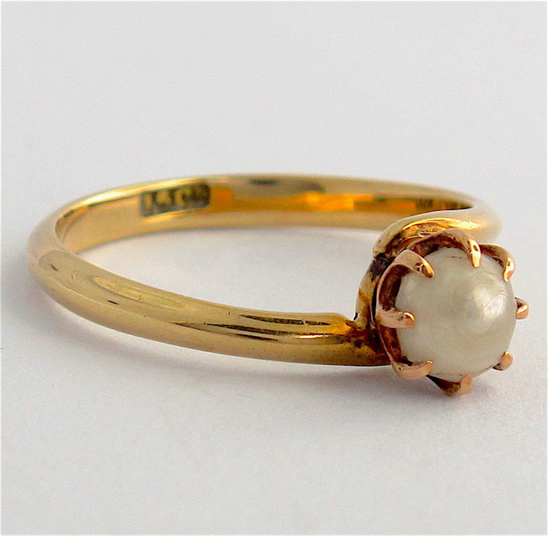 15ct yellow gold pearl ring image 1