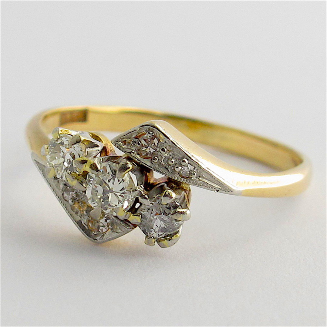18ct yellow and white gold vintage three diamond set ring image 1