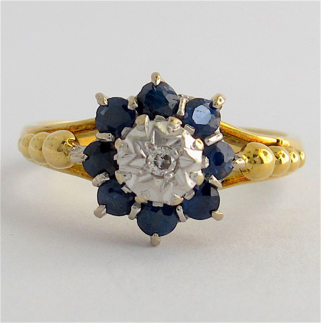 18ct yellow gold & platinum sapphire and diamond ring image 0