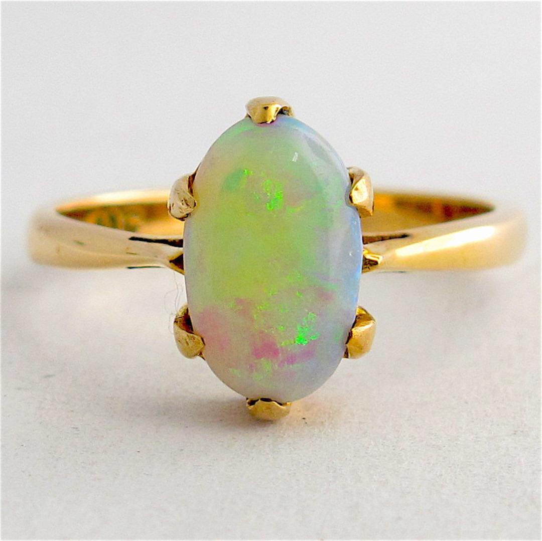 9ct yellow gold solid opal dress ring image 0