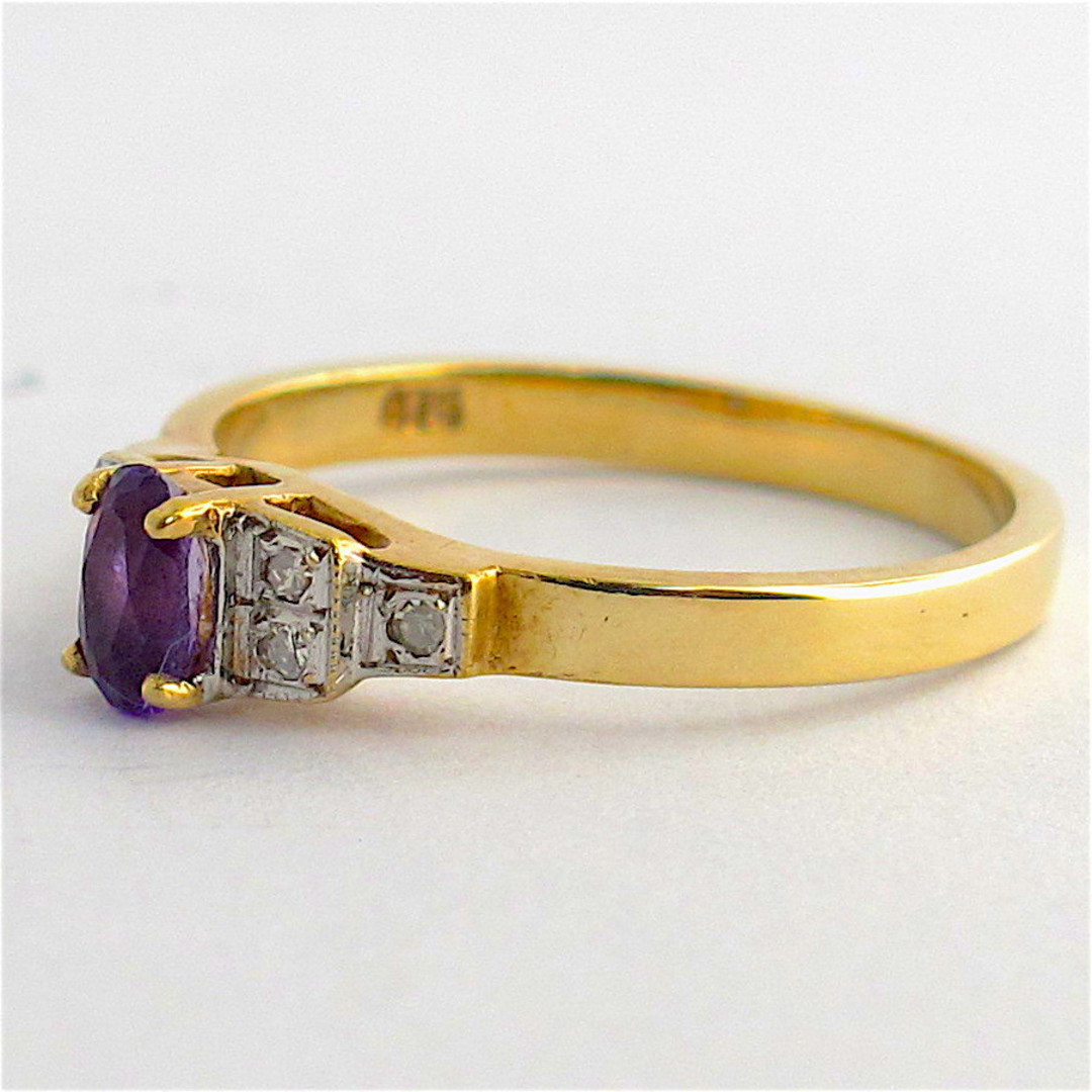 9ct yellow & white gold amethyst and diamond ring image 1