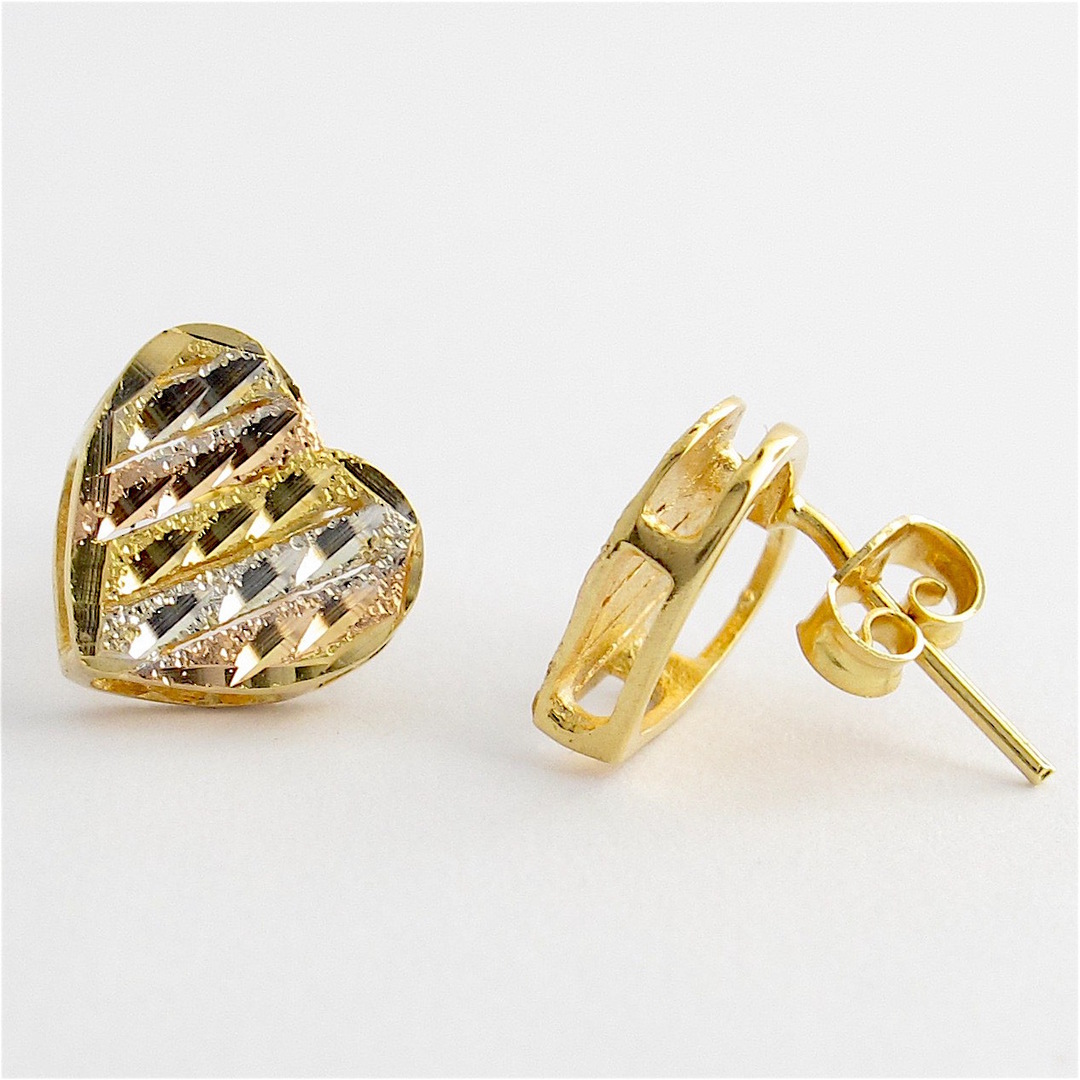 18ct tri-tonal heart shaped stud earrings image 2