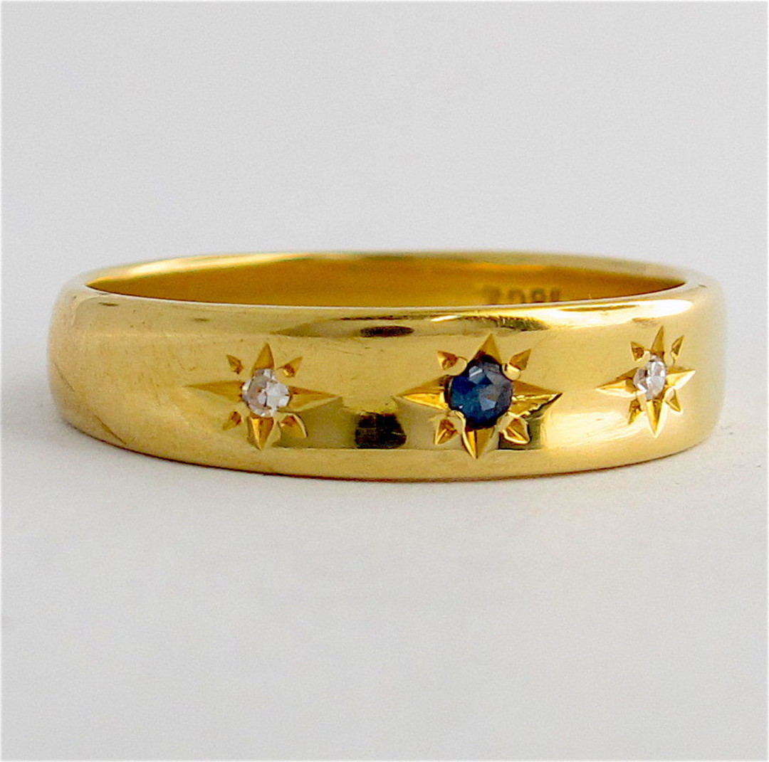 18ct yellow gold diamond and sapphire band image 1