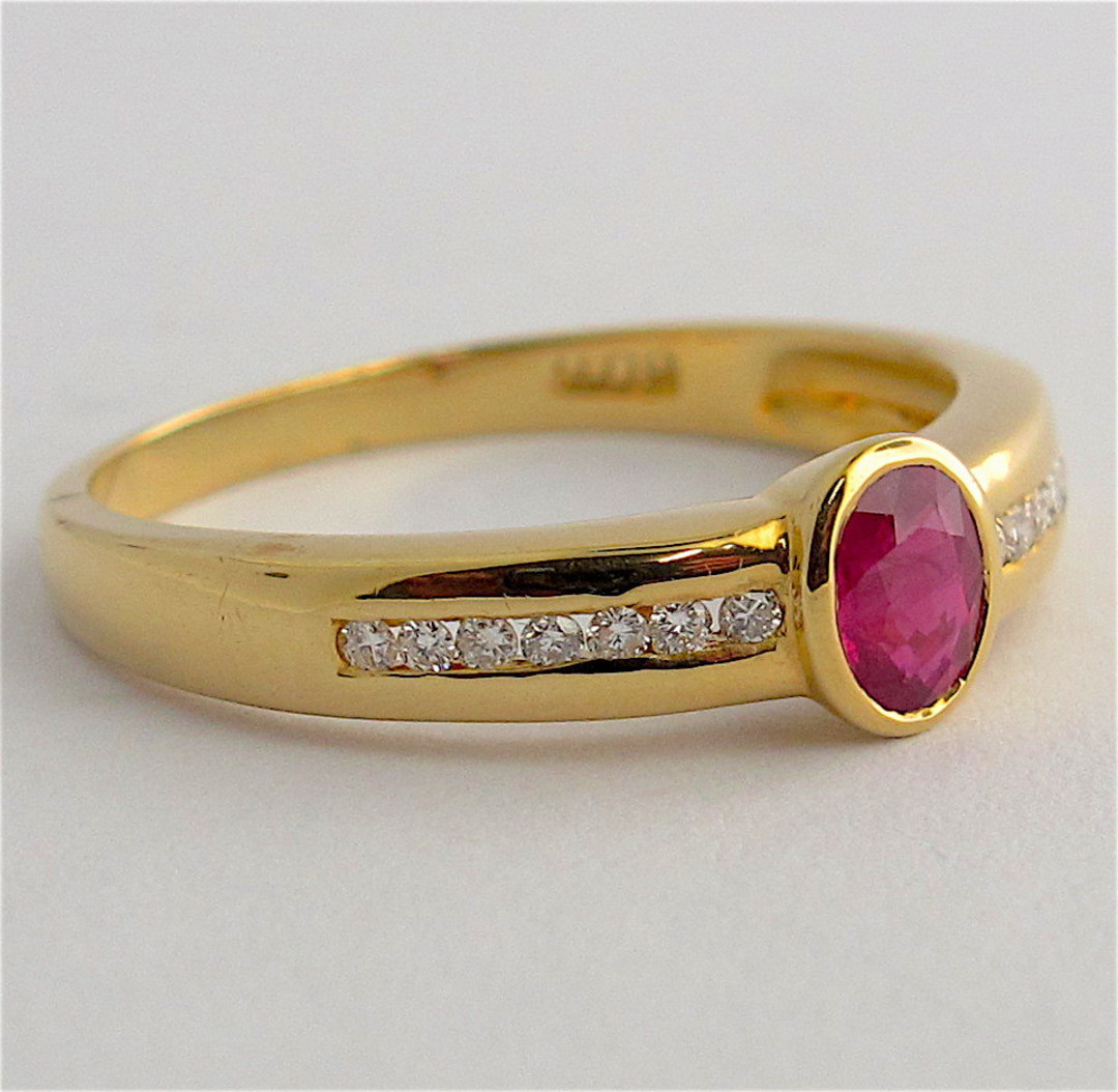 18ct yellow gold natural ruby and diamond set ring image 1