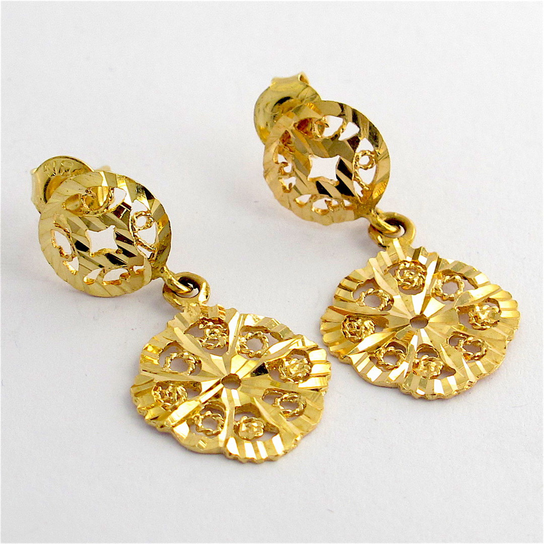 14ct yellow gold disc style dangle stud earrings image 0