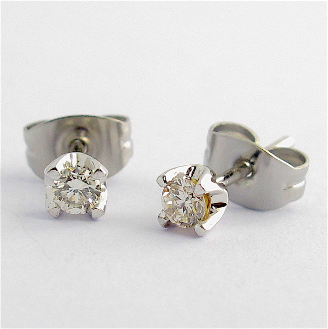 18ct white gold diamond solitaire stud earrings image 0