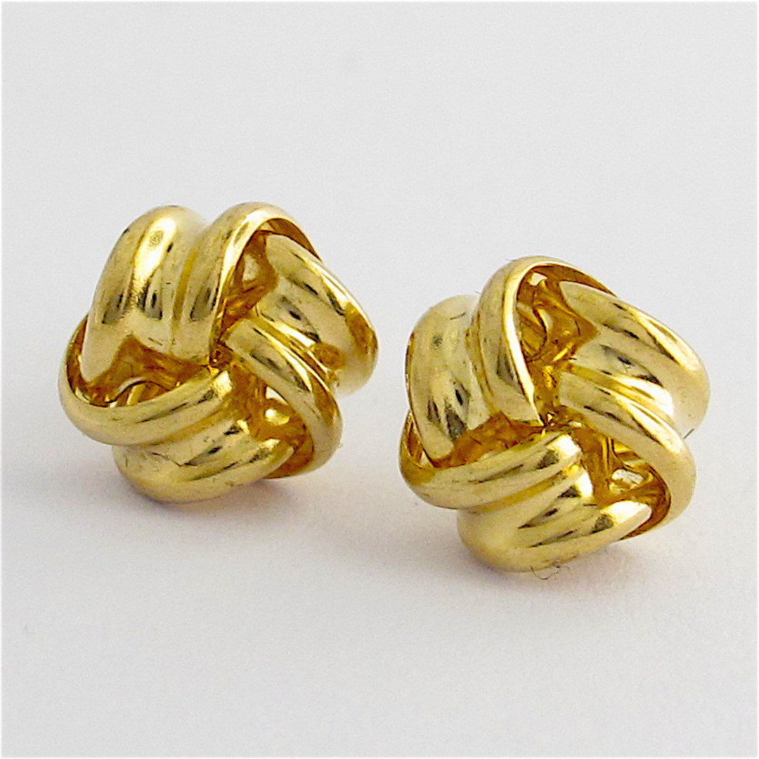9ct yellow gold knot style stud earrings image 0