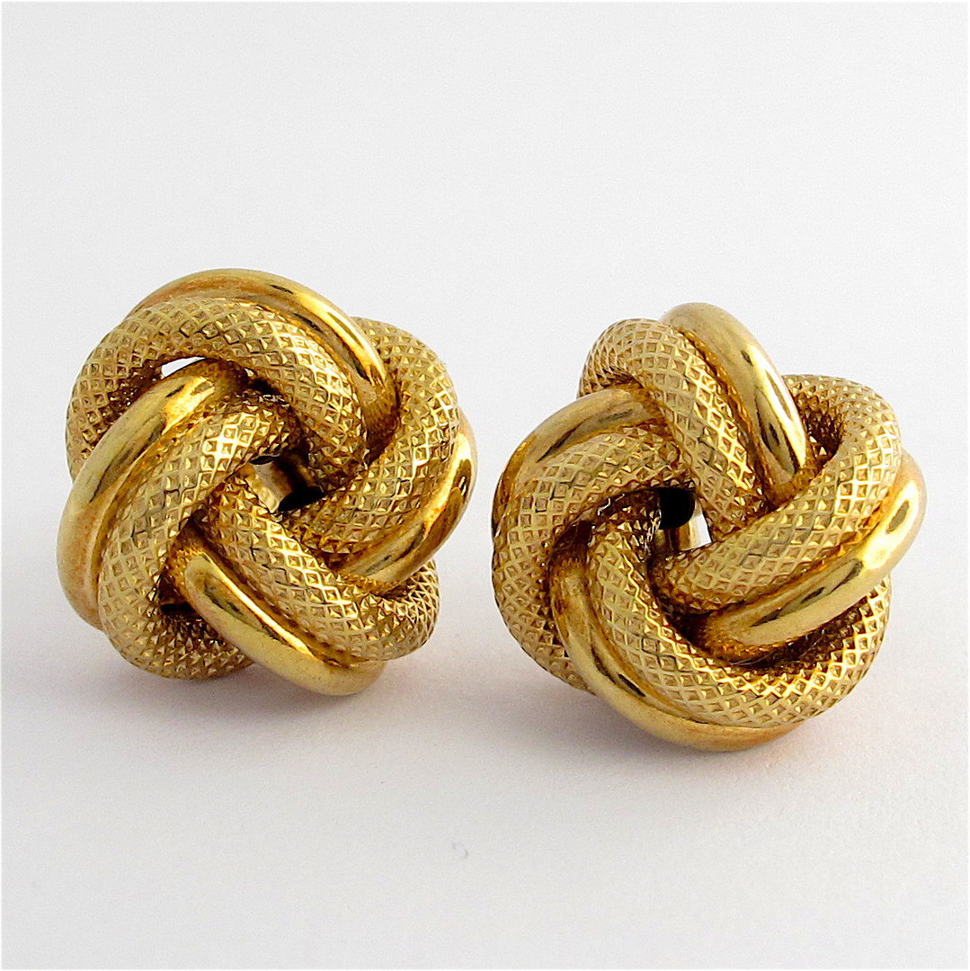 9ct yellow gold textured knot style stud earrings image 0