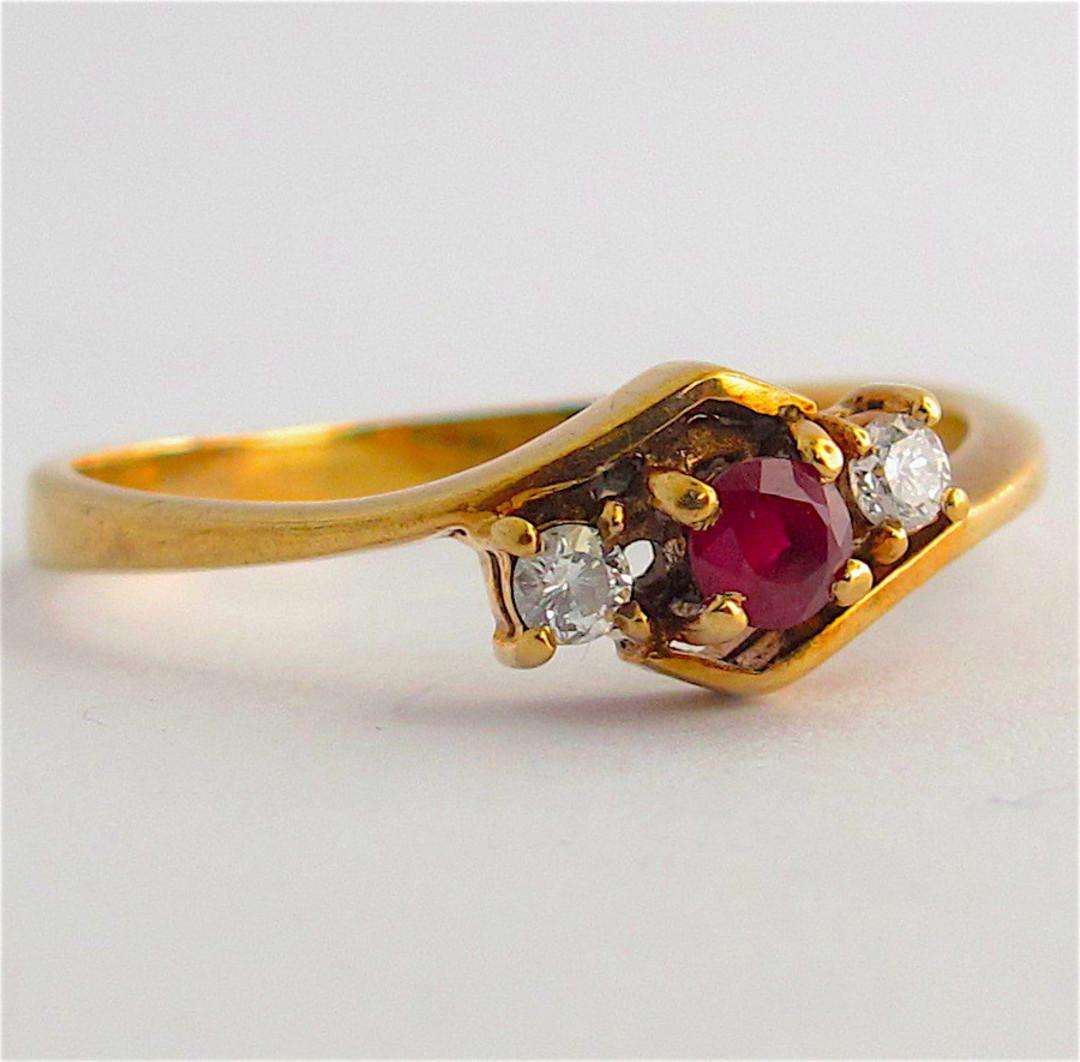 9ct yellow gold natural ruby and diamond set ring image 0