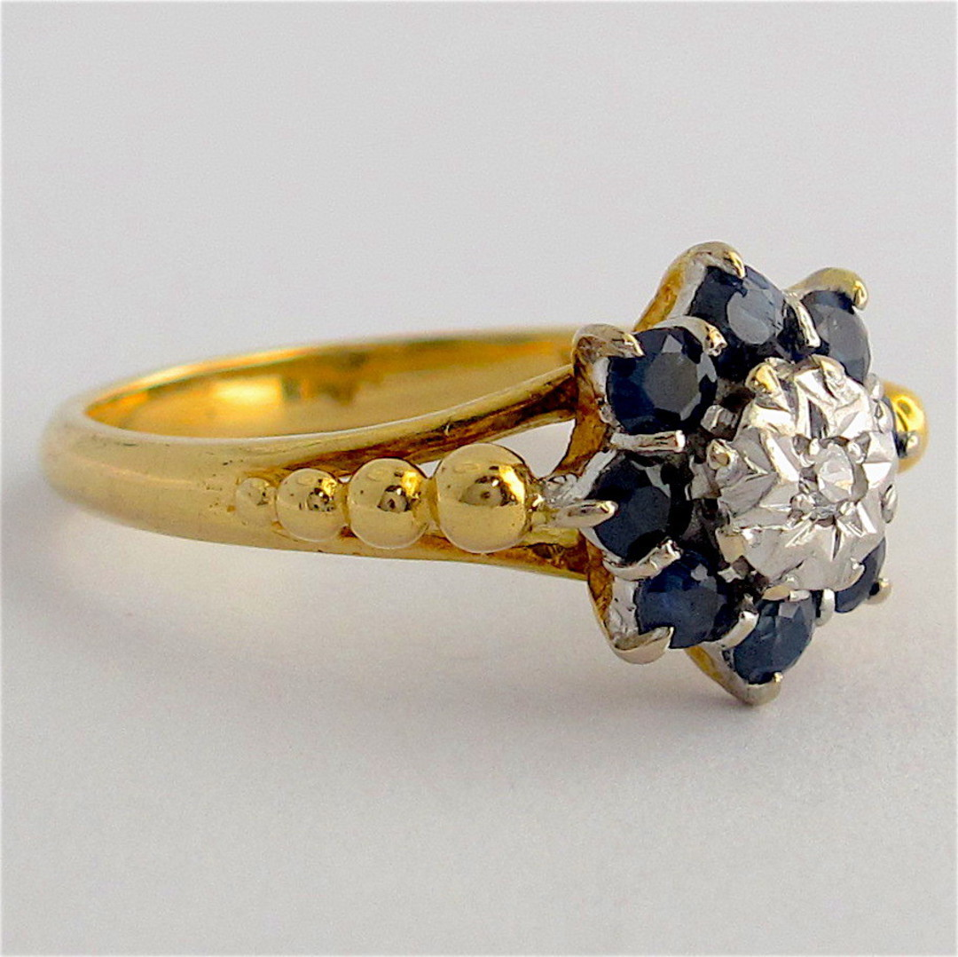 18ct yellow gold & platinum sapphire and diamond ring image 1