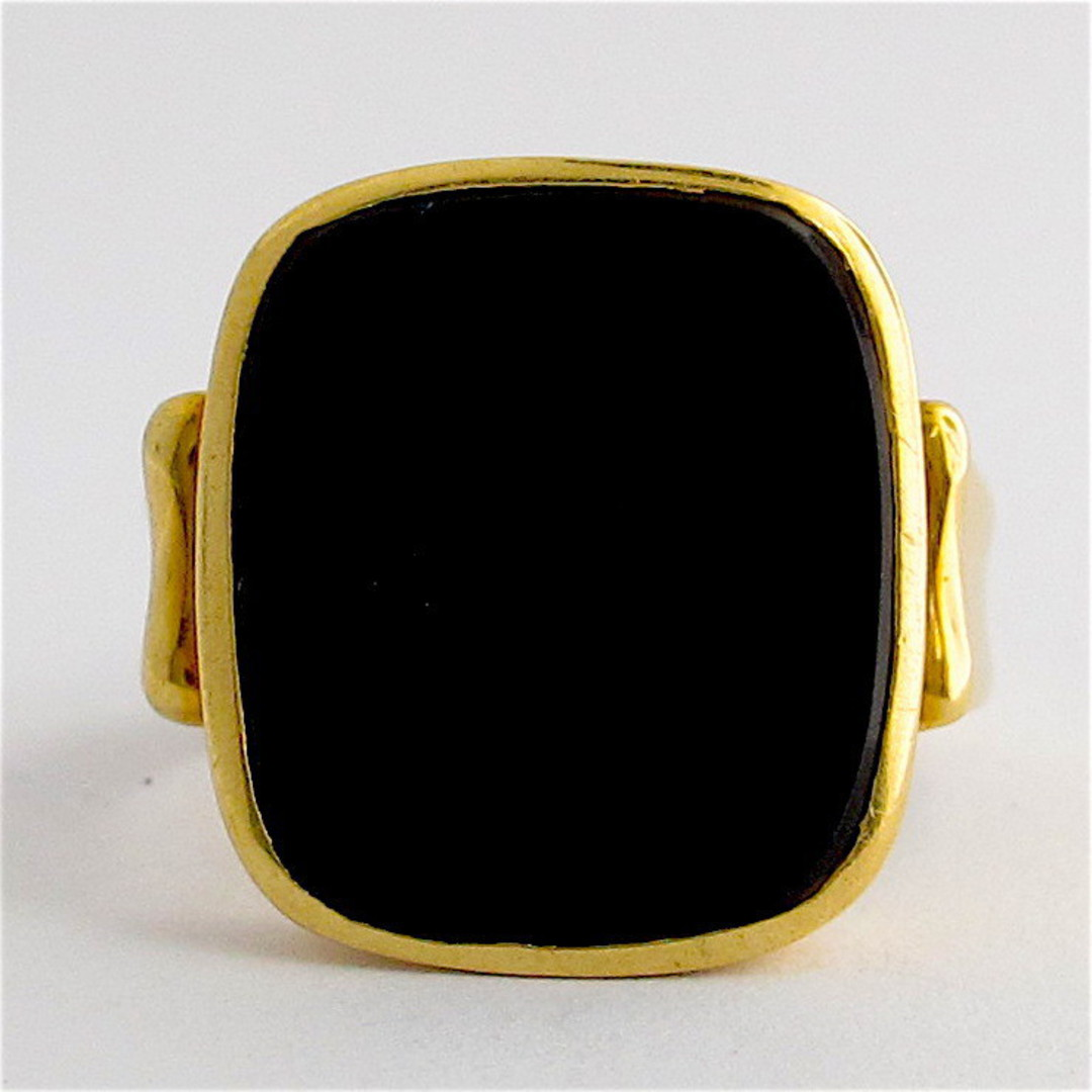 18ct yellow gold and onyx dress ring image 1