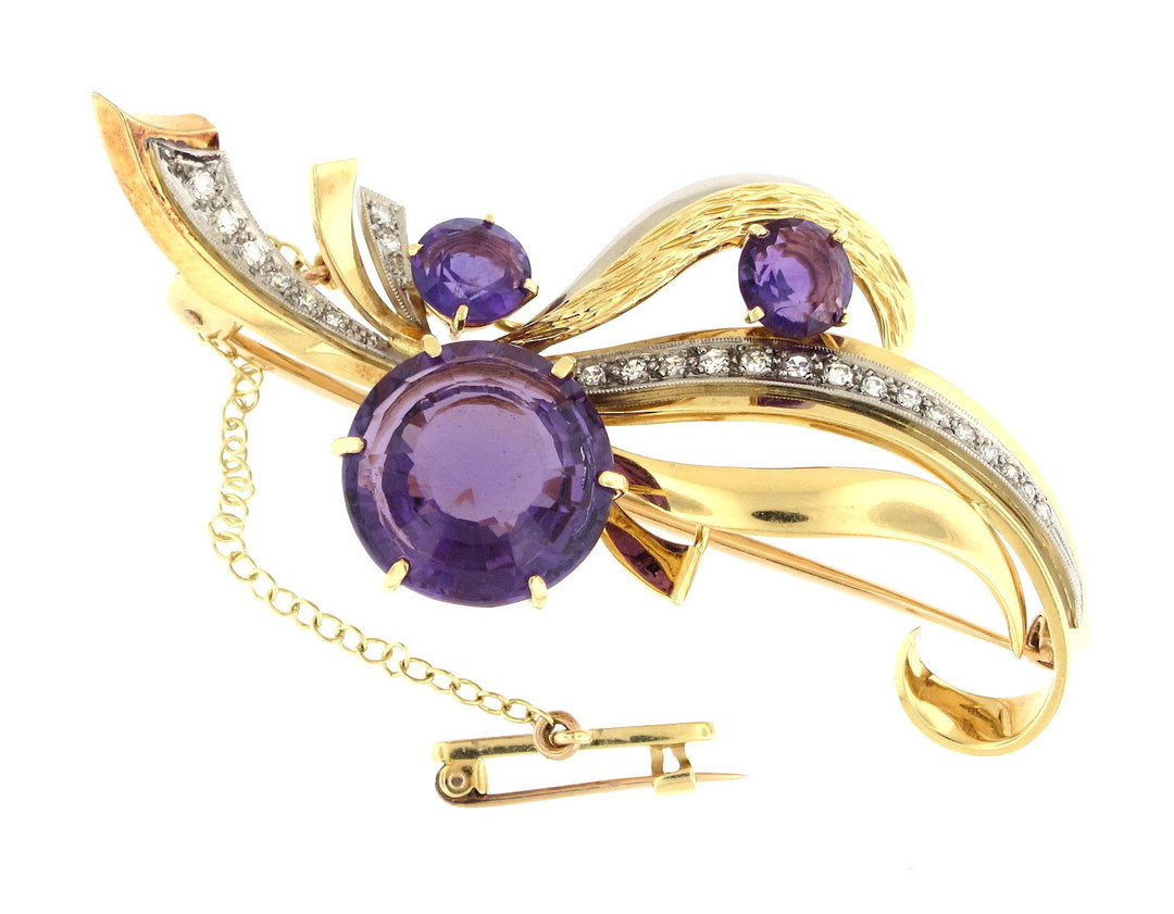 18ct yellow and white gold amethyst and diamond brooch image 0