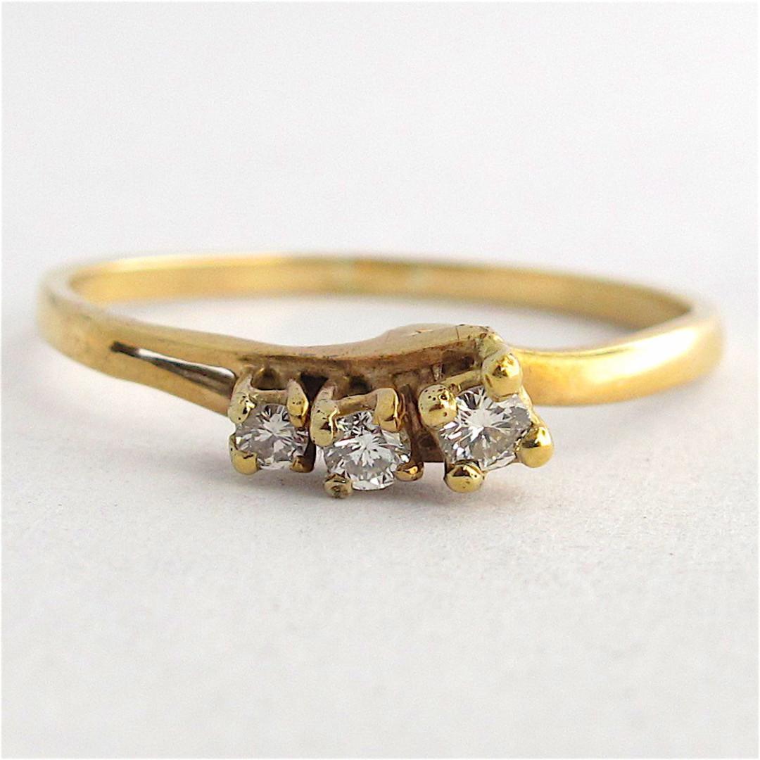 9ct yellow gold 3 stone diamond dress ring image 0
