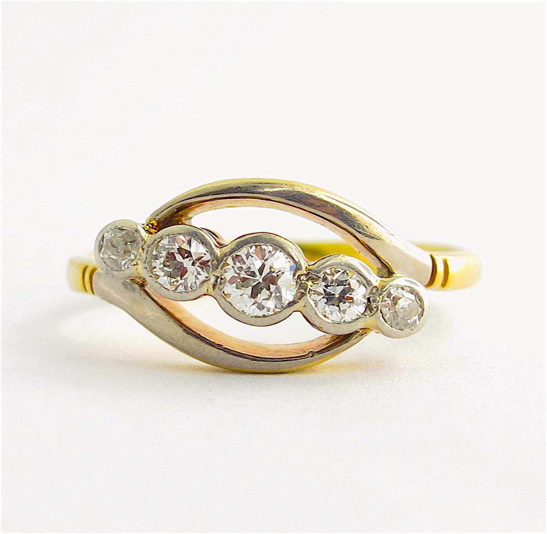 18ct yellow gold & platinum antique Old European cut five stone diamond ring image 1