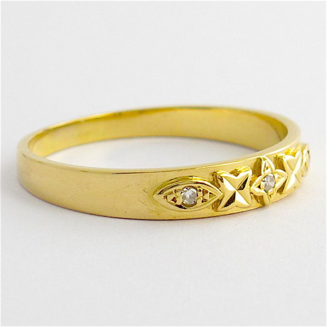 18ct yellow gold 3 stone diamond band image 1