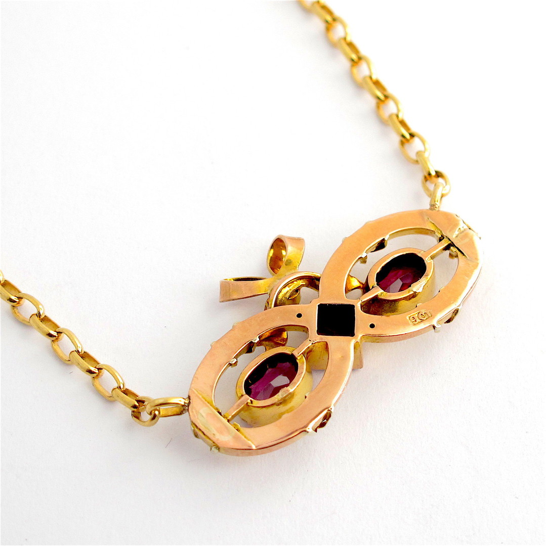 9ct yellow over rose gold antique rhodolite garnet and seed pearl necklace image 1