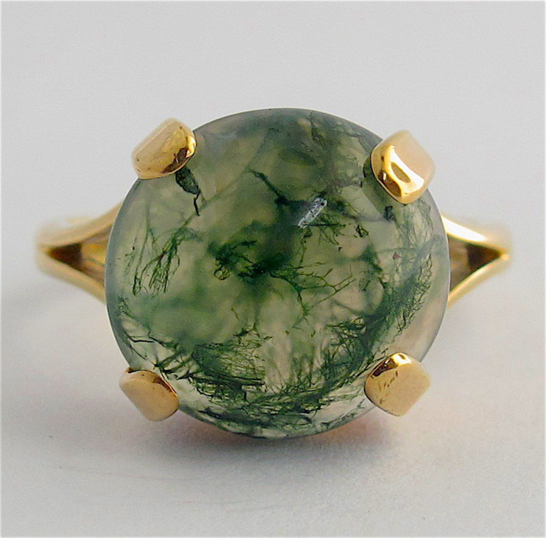 9ct yellow gold moss agate ring image 0