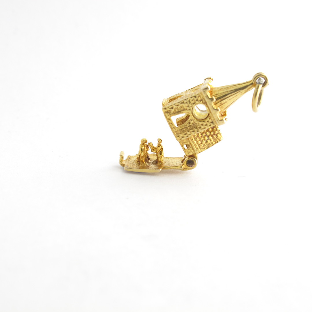 9ct yellow gold church charm - set with The Lords Prayer magnified inside image 1