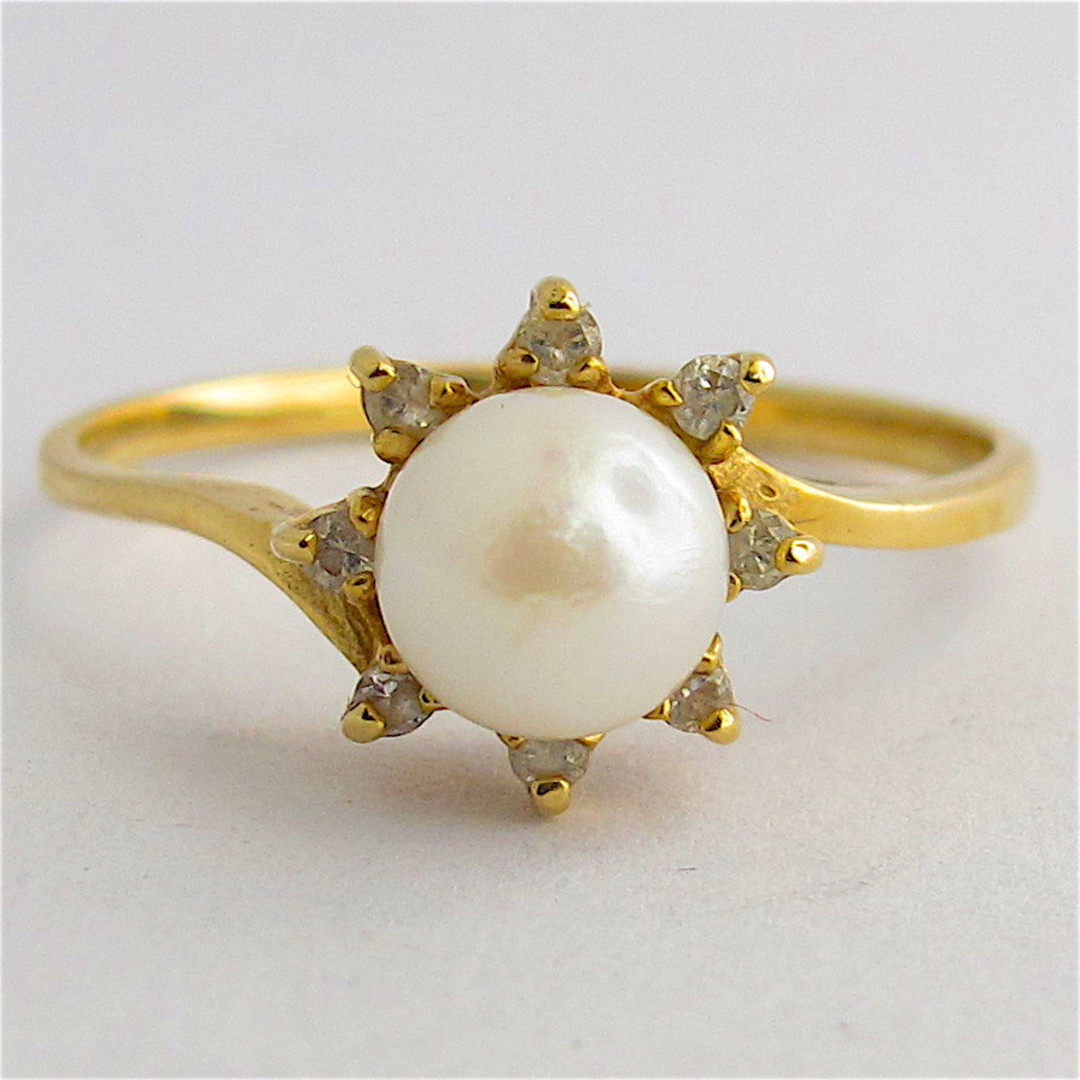 14ct yellow gold cultured pearl and diamond dress ring image 0