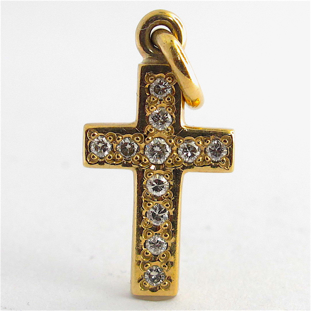 9ct yellow gold diamond cross charm image 0