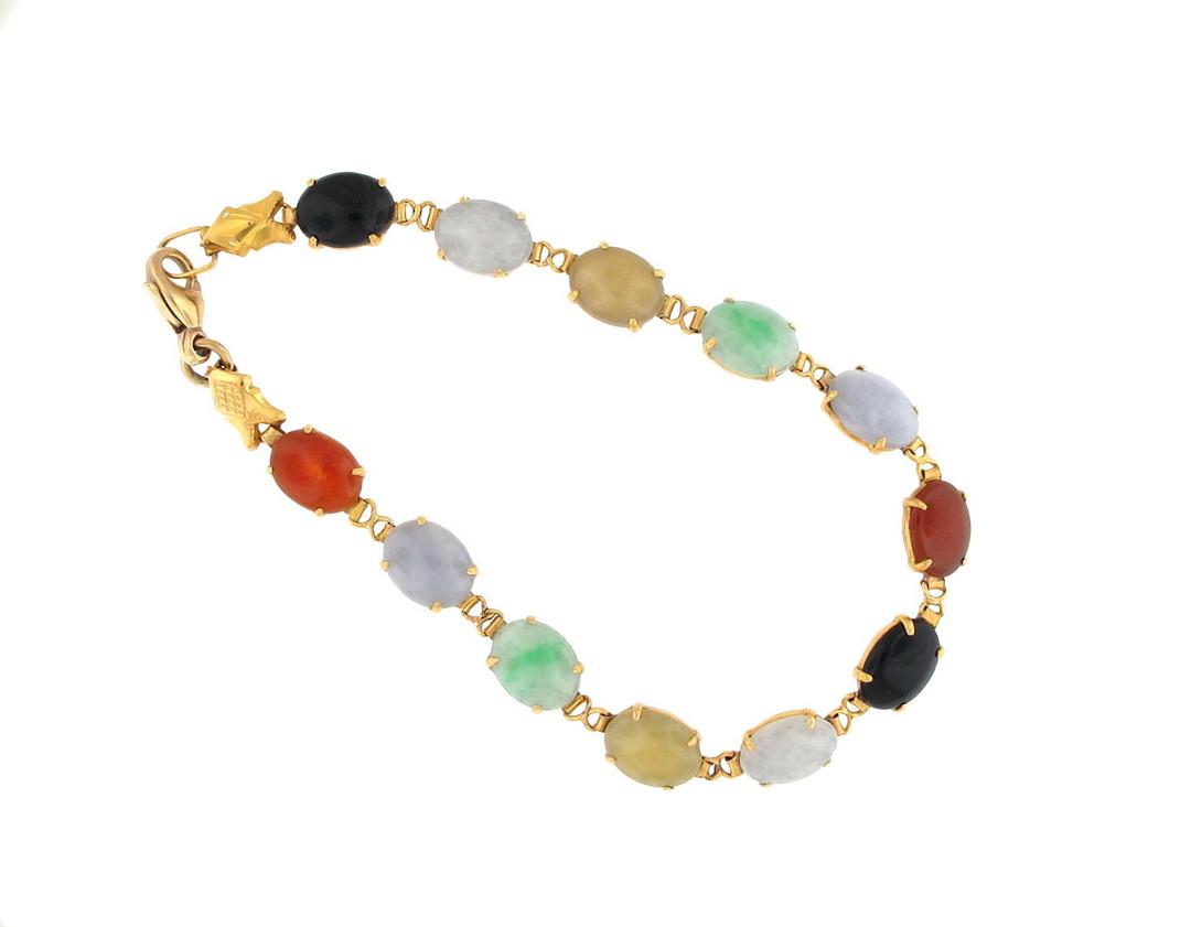 20ct yellow gold multi coloured jade bracelet image 0