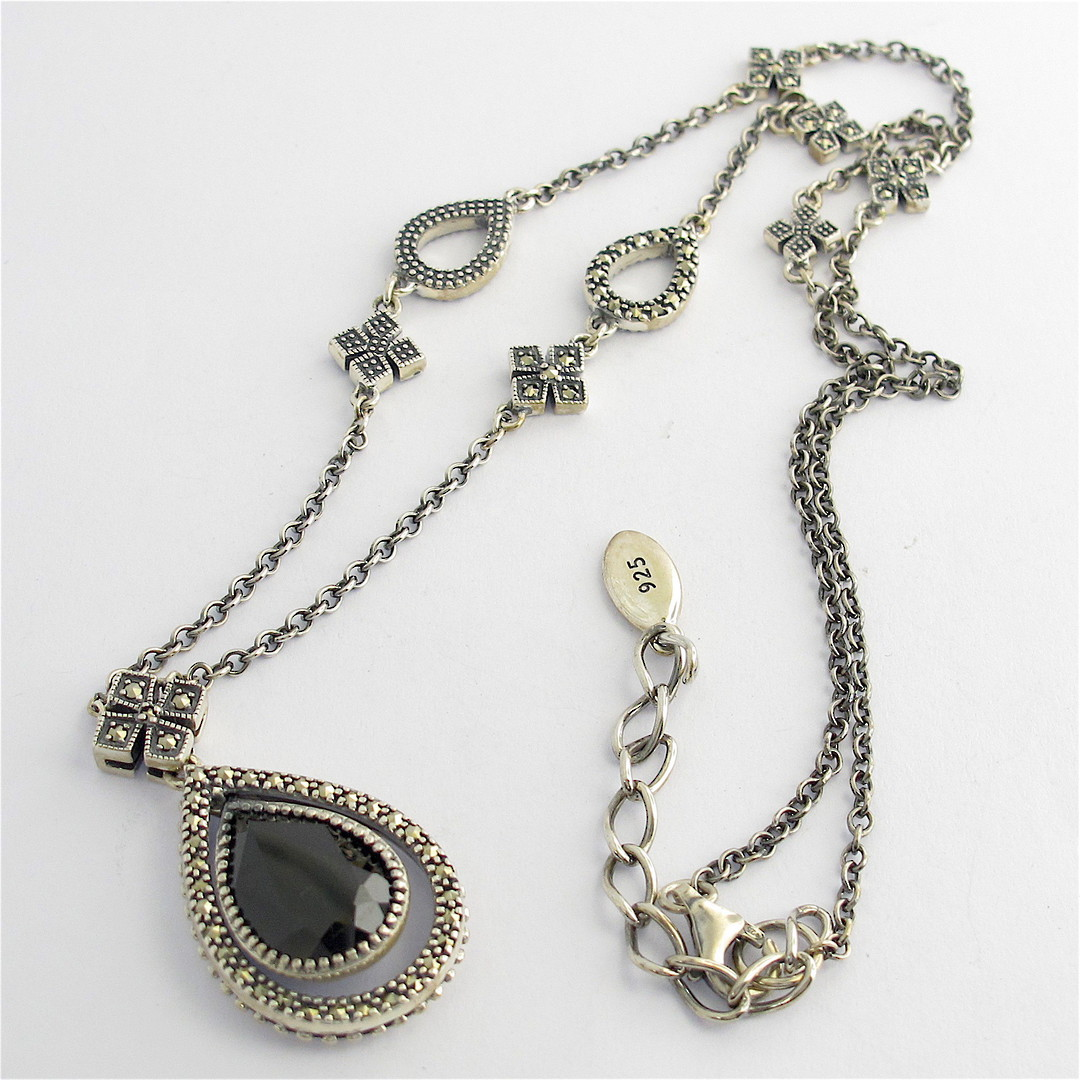 Sterling silver onyx and marcasite vintage style pendant and chain image 0