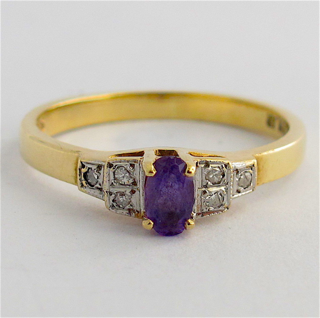 9ct yellow & white gold amethyst and diamond ring image 0