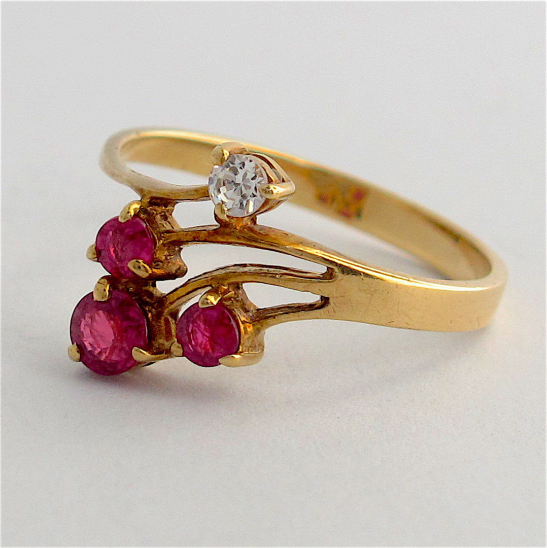 14ct yellow gold ruby and diamond ring image 1