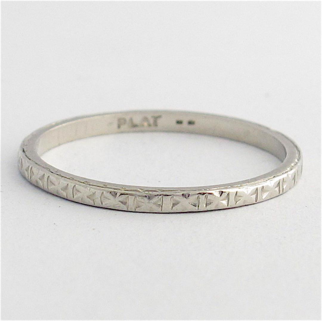 Platinum engraved wedding band image 0