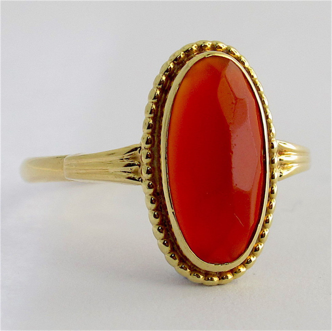 14ct yellow gold carnelian ring image 1