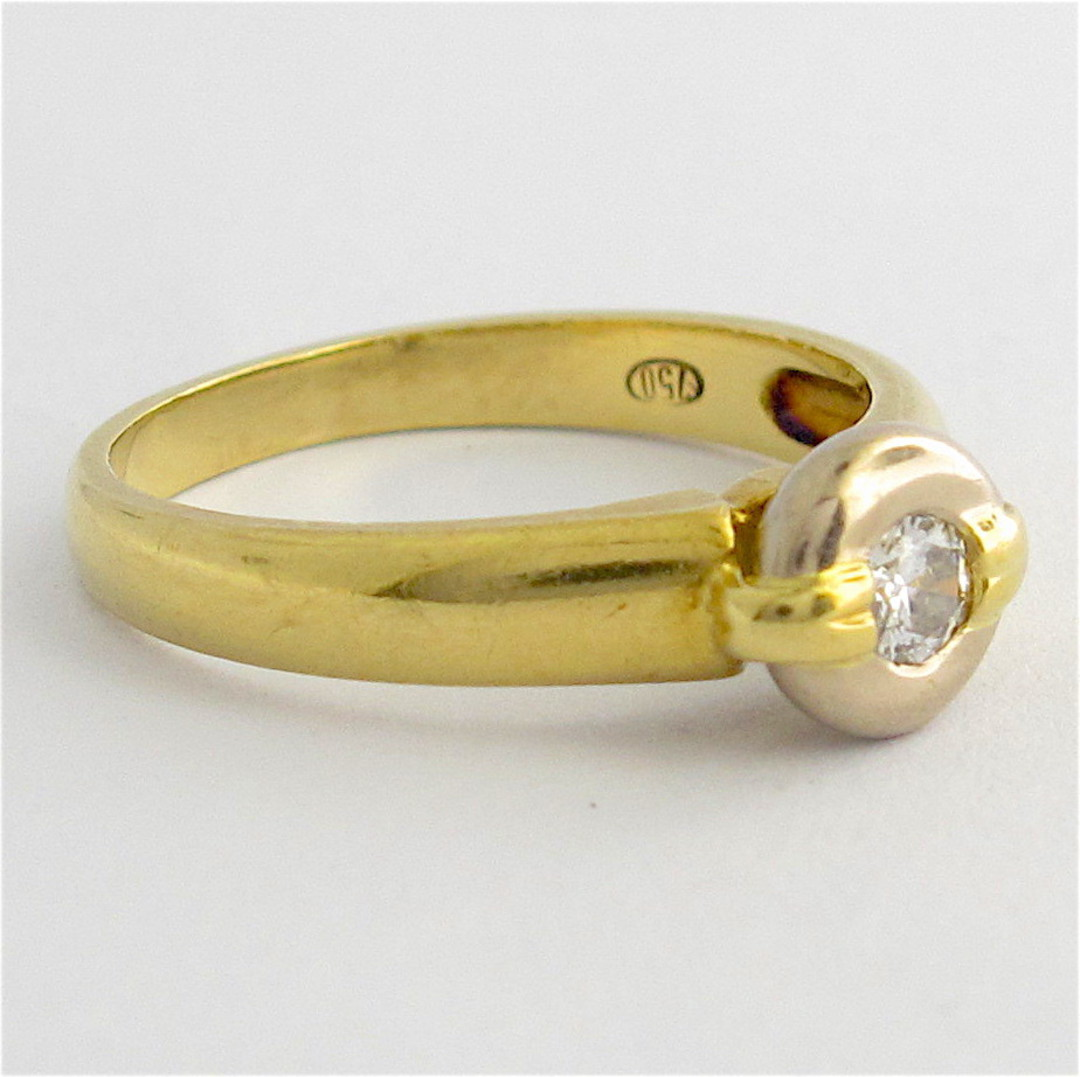 18ct yellow and white gold rub over set diamond ring image 1