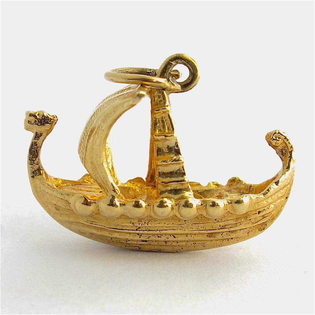 9ct yellow gold viking boat charm image 0
