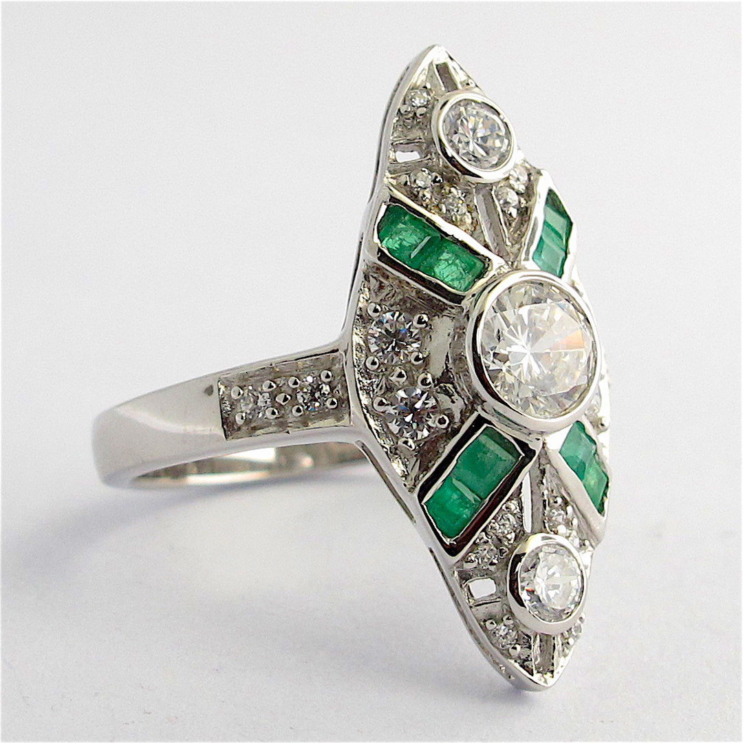 Sterling silver natural emerald and cubic zirconia ring image 1